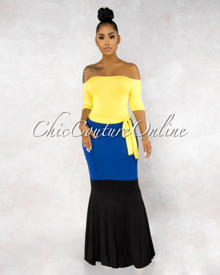 Sawyer Yellow Navy Black Color Block Maxi Dress