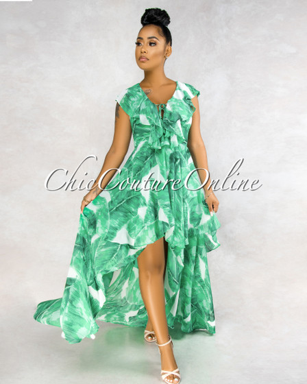 Orla Green Leaf Print Ruffle Maxi Dress
