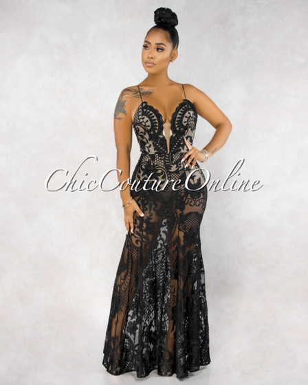 Montage Black Embroidery Nude Illusion Bodysuit Maxi Dress