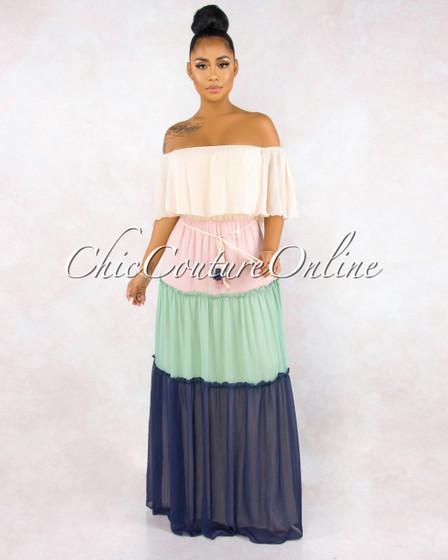 Malena Nude Sage Navy Color-Block Maxi Dress