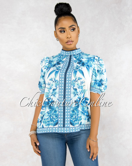 Amani White Blue Floral Print Puffy Sleeves Top