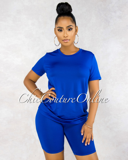 Courtnie Royal Blue Over-sized Shirt Bike Shorts Set