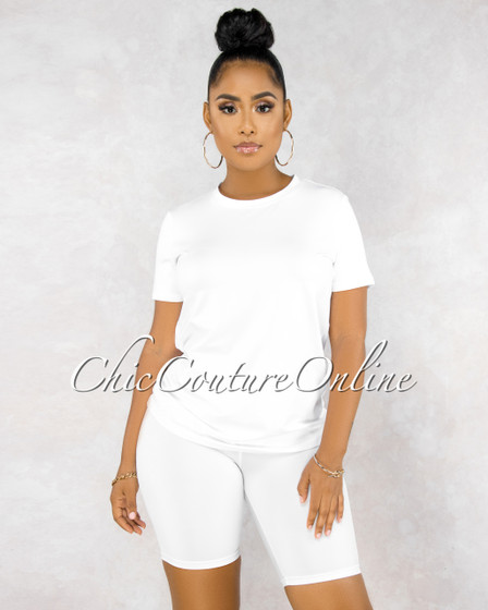 Courtnie White Over-sized Shirt Bike Shorts Set