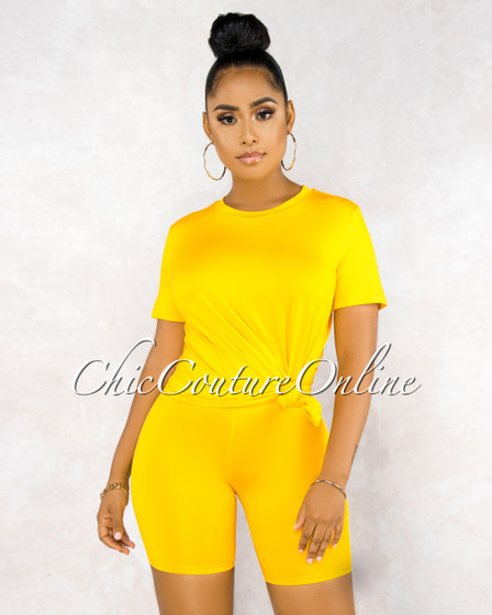 Courtnie Yellow Over-sized Shirt Bike Shorts Set