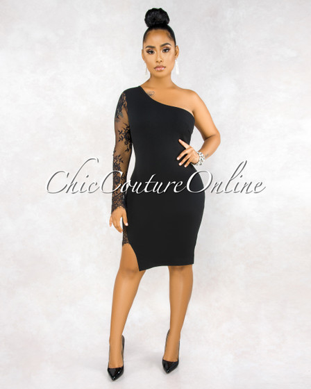 Mallory Black Single Lace Long Sleeve Midi Dress