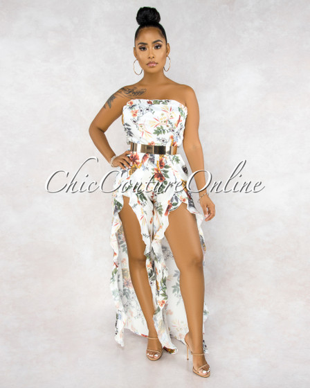 Norella White Floral Print Back Tie Ruffle Slit Legs Silky Jumpsuit