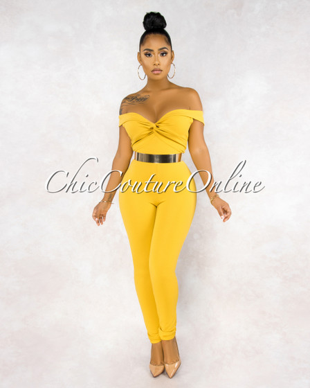 Seila Mustard Yellow Front Knot Jumpsuit