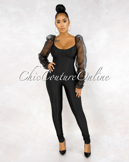 Xenia Black Trim Details Puffy Tulle Sleeves Silky Jumpsuit