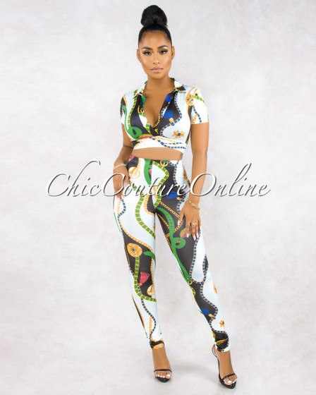 Palma White Black Multi-Color Print Front Tie Blouse Set