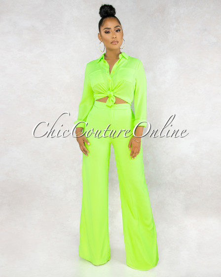 Thalita Neon Lime Buttons Blouse Trouser Pants Set