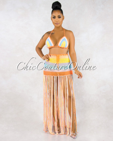 Hudson Neon Multi Color Crochet Cover-Up Fringe Two Piece Set