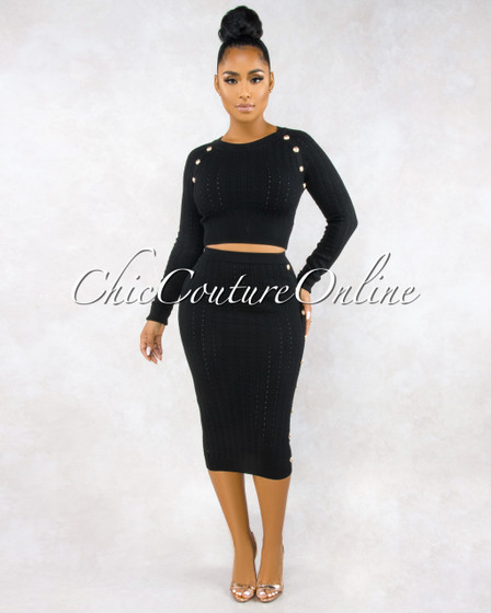 Terese Black Cable Knit Gold Button Skirt Set