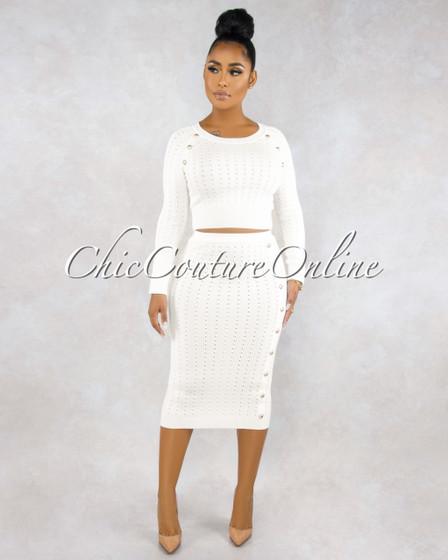 Terese White Cable Knit Gold Button Skirt Set