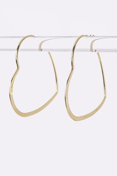 Stassia Gold Heart Shaped Hoop Earrings