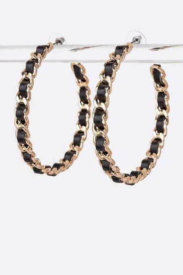 Somara Black and Gold Weaved Chain Hoop Earrings