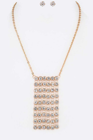 Ryder Golf Pavé Crystal Curtain Necklace Set