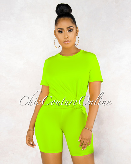 Courtnie Neon Lime Over-sized Shirt Bike Shorts Set