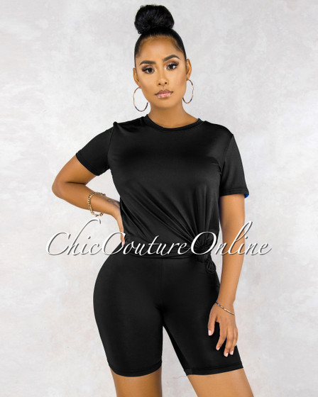 Courtnie Black Over-sized Shirt Bike Shorts Set