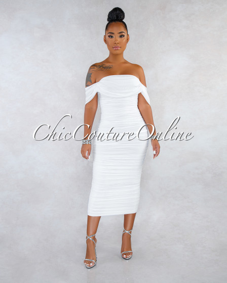 Becca White Mesh Overlay Ruched Off-The Shoulder Dress