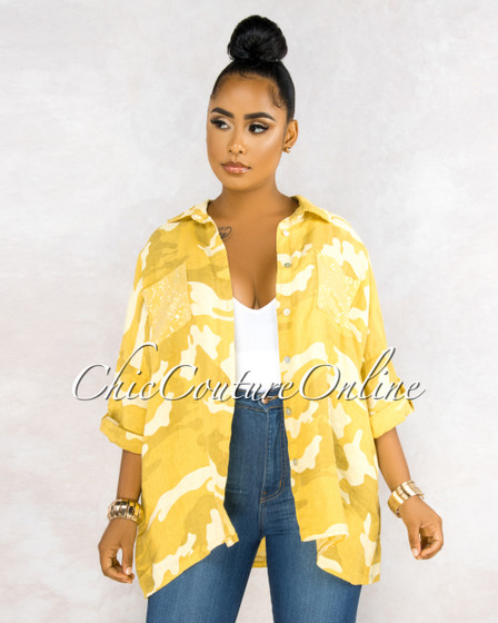 Fabian Yellow Camo Print Over-Sized LINEN Blouse