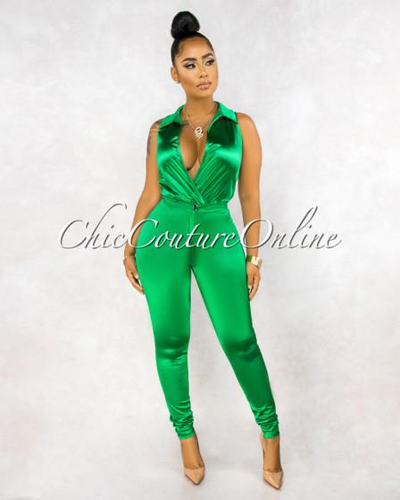 Ember Emerald Green Bodysuit Slim Pants Luxe Silky Set