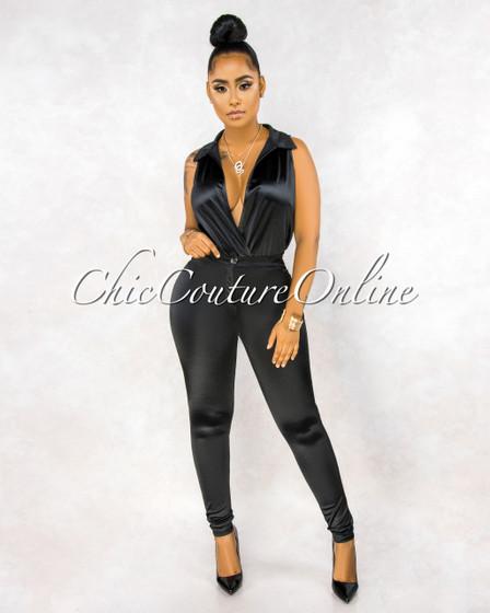 Ember Black Bodysuit Slim Pants Luxe Silky Set