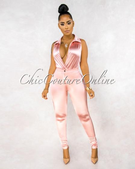 Ember Pink Bodysuit Slim Pants Luxe Silky Set