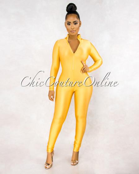 Susie Yellow Front Zipper Mock Neckline Silky Jumpsuit