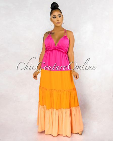 Debra Fuchsia Orange Color Block Tiers Halter Maxi Dress