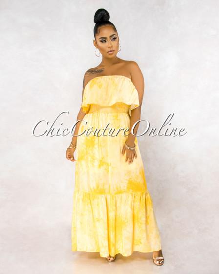 Tommy Yellow Tie-Dye Overlay Ruffle Maxi Dress