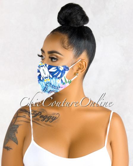 Theola Blue Multi-Color Print Fashion Mask