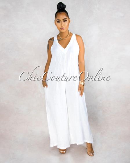 Saady White V-Neck Wide LINEN Jumpsuit