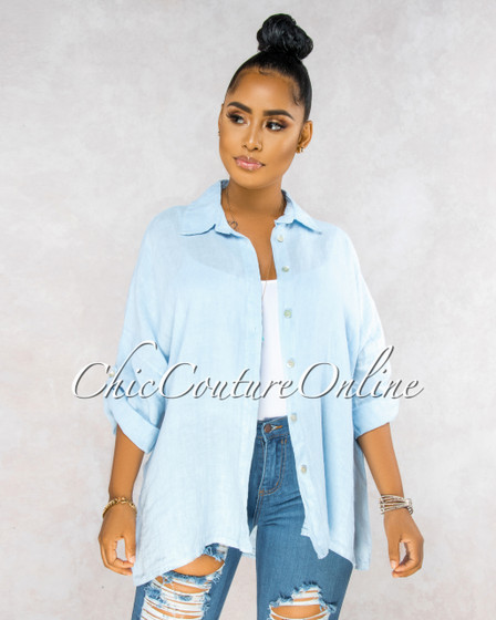 Betania Baby Blue Over-Sized LINEN Shirt