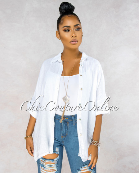 Betania White Over-Sized LINEN Shirt