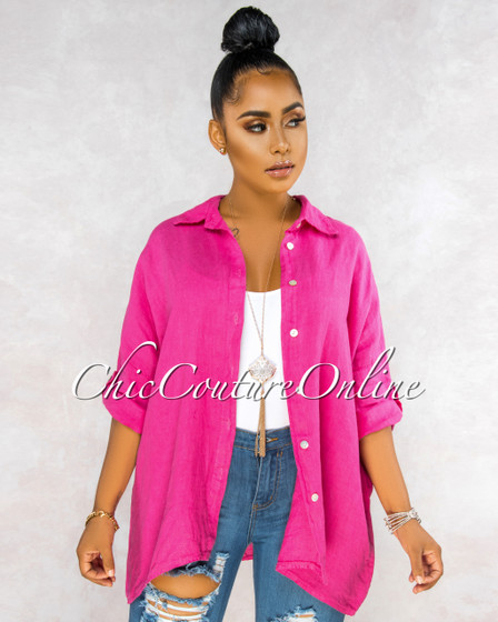 Betania Fuchsia Over-Sized LINEN Shirt