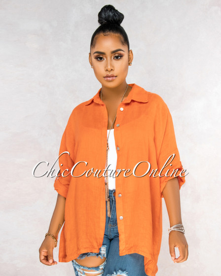 Betania Orange Over-Sized LINEN Shirt