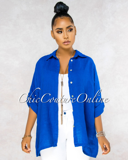 Betania Royal Blue Over-Sized LINEN Shirt