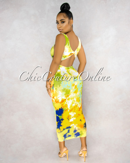 Kena Yellow Green Multi-Color Cut-Out Back Maxi Dress