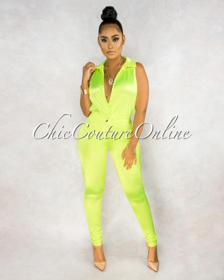Ember Neon Lime Bodysuit Slim Pants Luxe Silky Set