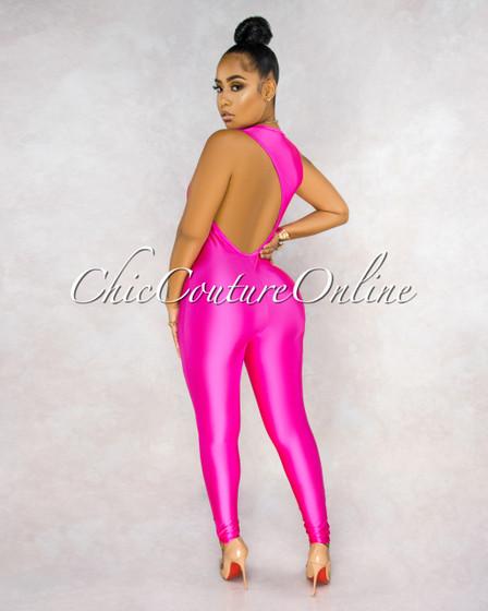 Winslow Neon Pink Key-Hole Back Jumpsuit