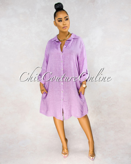 Positano Lilac Front Buttons Shirt LINEN Midi Dress