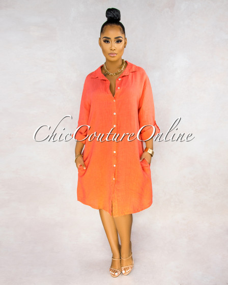 Positano Coral Front Buttons Shirt LINEN Midi Dress