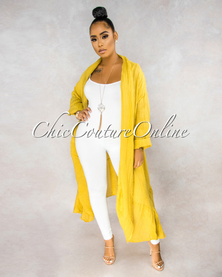 Halina Yellow Stripes Texture LINEN Long Duster