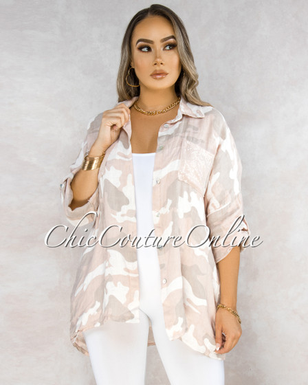 Fabian Nude Camo Print Over-Sized LINEN Blouse