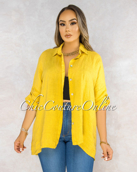 Betania Mustard Yellow Over-Sized LINEN Shirt