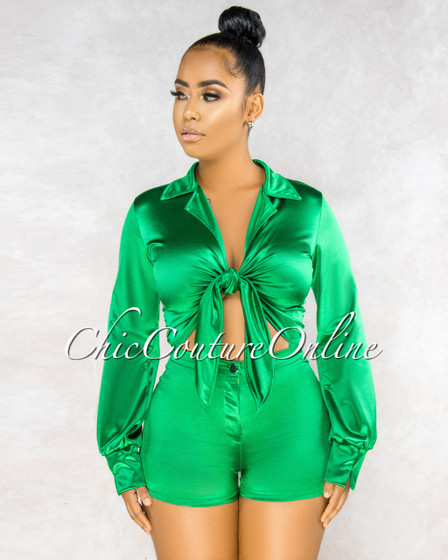 Philory Emerald Green Cut-Out Tie Bodysuit Shorts Silky Set