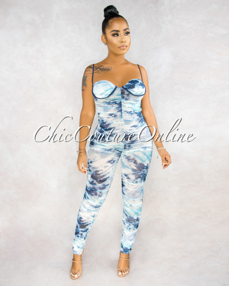 Umana Blue White Tie-Dye Mesh Ruched Jumpsuit