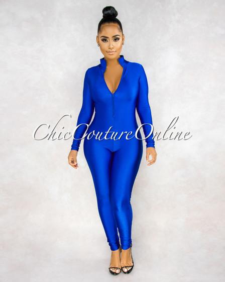 Susie Royal Blue Front Zipper Mock Neckline Silky Jumpsuit