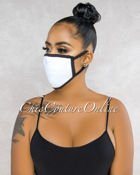 Charel White Black Trim Fashion Mask