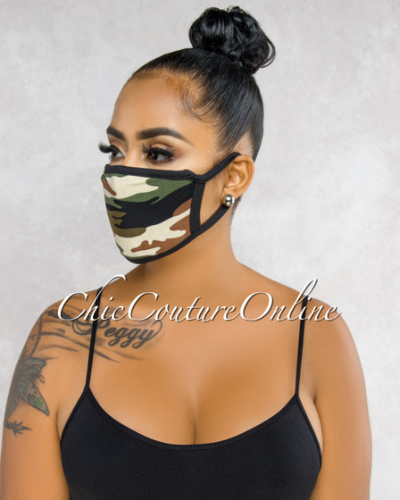 Charel Camo Black Trim Fashion Mask